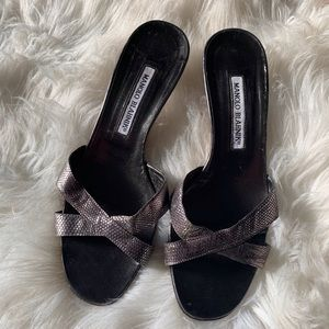 3fe93404fb Manolo Blahnik Silver Leather Heeled Sandals - 38